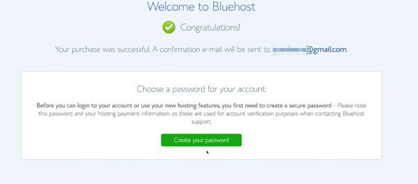 create bluehost password
