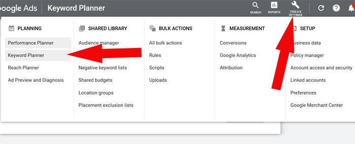 keyword planner tool access